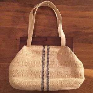 Handbags - Women bag for summer with wood details